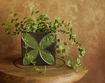 Handmade Ceramic Cube Planter - Moroccan Ornament Planter - Succulent Planter - Plant Pot - Dark Brown Planter - Home Decoration - Gift