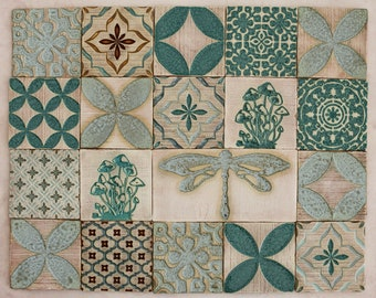 Handmade Ceramic Rustic Multicoloured Tiles for Kitchen/Bathroom Backsplash - Wall Tile - Decorative Tile - Moroccan Style - Tabletop