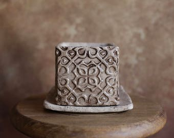 Handmade Ceramic Cube Planter - Moroccan Ornament Planter - Succulent Planter - Plant Pot - Gray Planter - Home Decoration - Gift