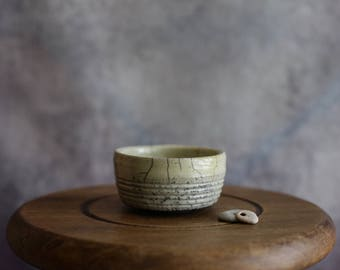 White Raku Ceramic Crackle Bowl - Handmade Decorative Bowl