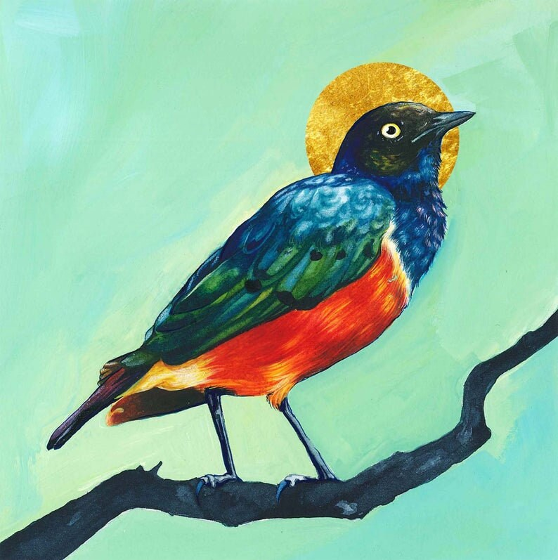 Superb Starling Bird *Limited edition with hand embellished gold leaf* Fine Art Print of Watercolor Painting