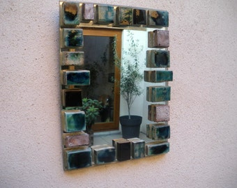 Former mirror ceramics design 70 / 80 to assign, bathroom, vallauris?