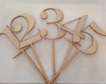 1-5 Laser Cut WoodNumber Stakes/Table Markers