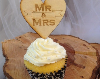 Cupcake toppers-Mr and Mrs-Set of 12
