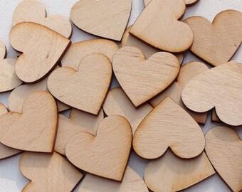 "1.5"" Natural wood hearts.  Quantity 100 hearts"