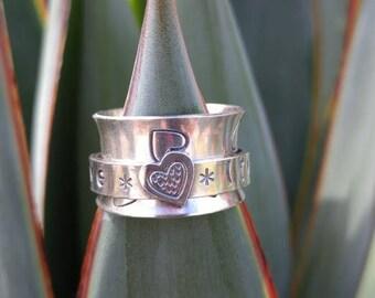 LOVE * LIVE * LAUGH *Heart Spinner Ring Sterling Silver Fidget Ring Worry Ring Meditation Ring