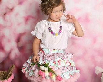 Easter Dress- Ruffle shirt Dress- Pageant Dress- Easter Floral Dress- Birthday Dress- Ruffle Skirt- Flower Dress- Pageant- Flower girl dress