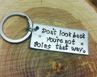 Handstamped Keyring, Inspirational Quote, Handstamped Keyring,Metal Keyring, Don't look back, Stars, Handmade keyring