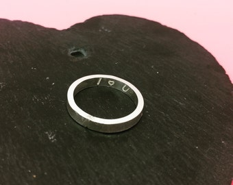 Handmade Sterling Silver Stamped Ring Size P I Love You Valentines Gifts for her Solid Silver Handstamped Message Ring