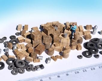 120+ Miniature boxes barrels tyre junk props, painted. HO TT N scale railway wargame diorama scenery model