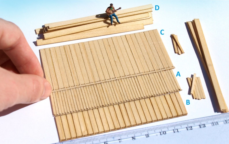 100pcs+ Laser cut wood planks HO / O scale lumber, general modeling kit for  dollhouse, wargame diorama scenery