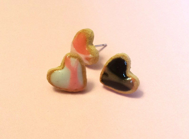 Dark Chocolate and Pink Strawberry Iced Clay Heart Shaped Sugar Cookie Miniature Food Earrings White Vanilla