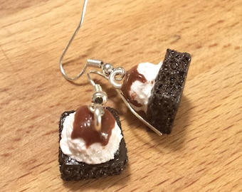Dark Chocolate Brownie with Vanilla Ice Cream Scoop and Caramel Sauce Miniature Food Earrings