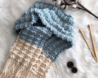 READY TO SHIP! Chunky Knit Scarf/Tassel Scarf/Long Scarf/Blue Scarf/Waffle Stitch Scarf/Oversize Scarf/Long Scarf/Knit Scarf/Large Scarf
