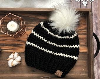 7ac83fa1a38 ADULT Faux Fur Pom-Pom Hat Knitted Hat for Women Pom Pom Beanie Black Ivory  Striped Beanie Fall Winter Hat Teen Women Fluffy Ivory Fur Pouf