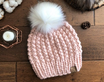 140159b1f8116c Luxury Line ADULT Chunky Knit Faux Fur Pom-Pom Hat/Light Pink Beanie/Thick  & Bulky Knitted Hat Women/Warm Wool Winter Hat/XLarge Fluffy Poof