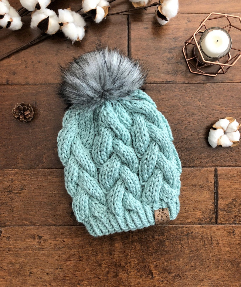 fc7d686b70c ADULT Knitted Winter Hat Cable Knit Hat Braided Cable