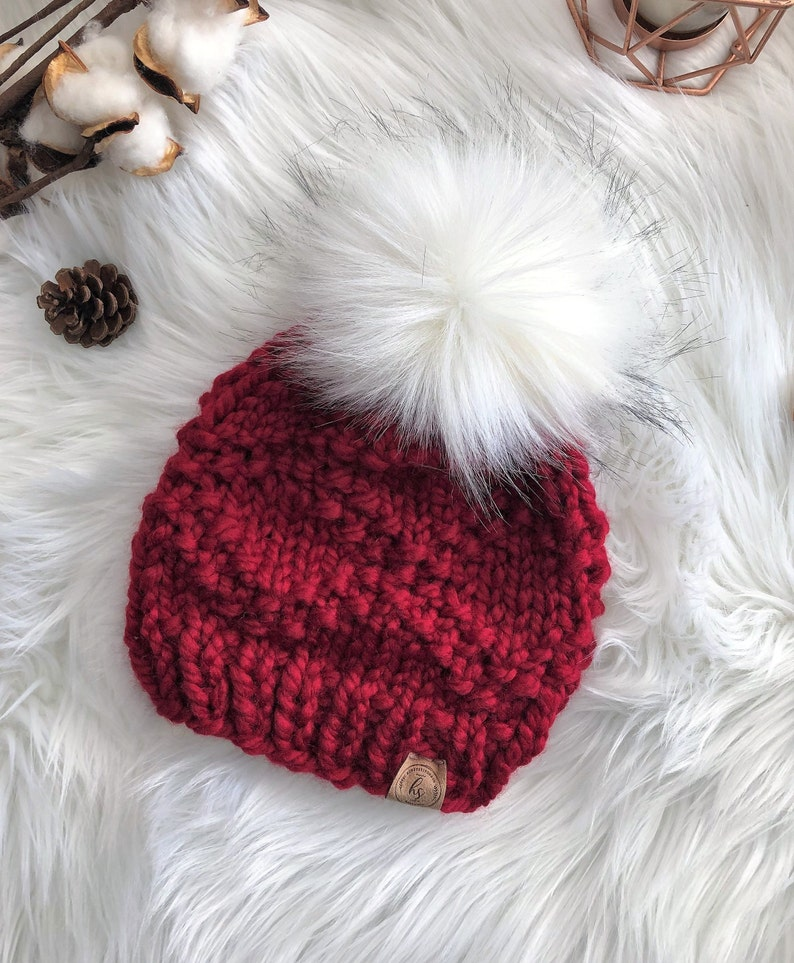 a5ea0fb46 TODDLER (1-4 YRS) Faux Fur Pom-Pom Hat/Knit Hat for Girls/Fur Pom Pom  Beanie/Cranberry Red Beanie/Winter Hat Child/Cute Girl Christmas Gift