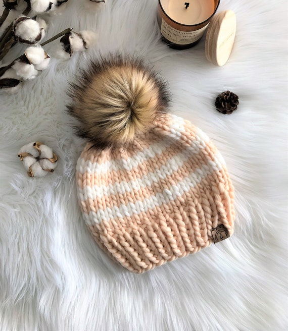 8cf5b34d3 LUXURY LINE/ADULT Chunky Knit Fur Pom Pom Hat/Light Peach & White Striped  Beanie/Bulky Knitted Hat Women/Merino Wool Winter Hat/Fluffy Poof