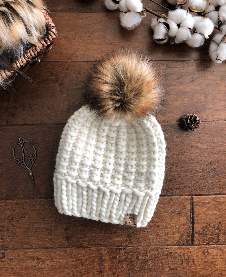 dc8ae419f Luxury Line TEEN/ADULT Chunky Knit Faux Fur Pom-Pom Hat/Ivory White  Beanie/Bulky Knitted Hat Women/Warm Wool Winter Hat/XLarge Fluffy Poof