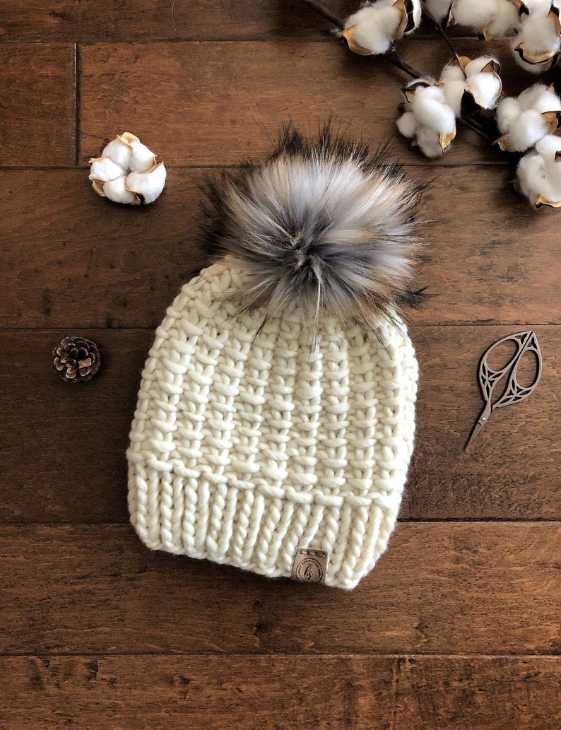 2fa06c2c0 Luxury Line ADULT Chunky Knit Faux Fur Pom-Pom Hat/Thick Ivory Beanie/Bulky  Knitted Hat Women/Soft Merino Wool Winter Hat/Large Fluffy Poof