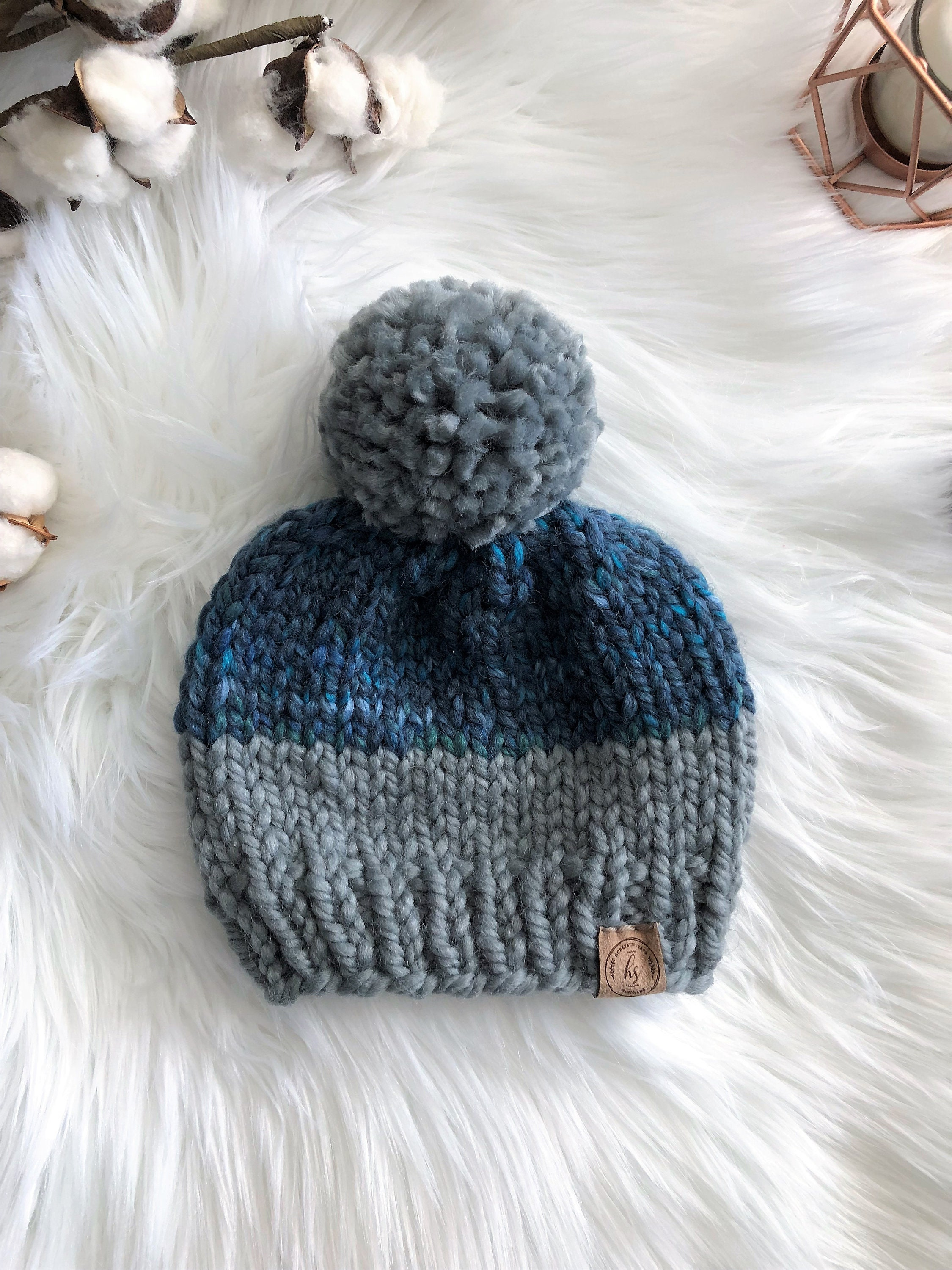 ccf05e7fe06 6-12 MONTH Blue Gray Pom-Pom Hat/Baby Knit Hat/Knitted Beanie for Baby/Hat  for Baby Boy/Baby Boy Gift/Big Pom Kids Hat/Boy's Winter Beanie