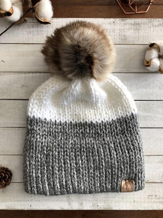 2f9f97efbc5 ADULT Double Brim Knit Beanie Faux Fur Pom Pom Hat Gray White