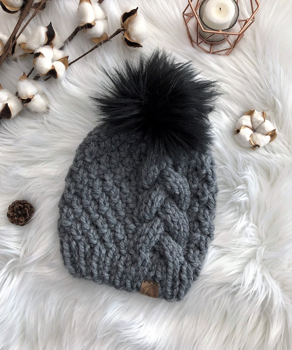 ADULT Thick Cable Knit Faux Fur Pom-Pom Hat Dark Gray  75e7d6670fd