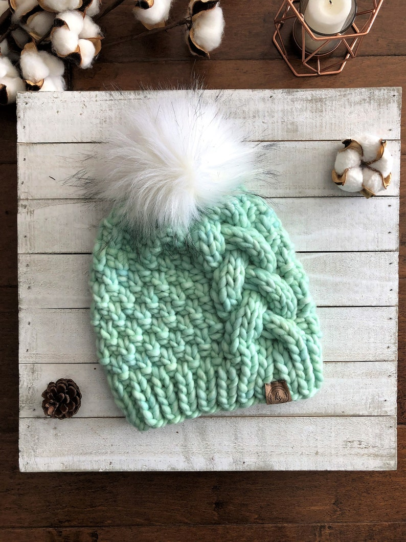 238cdbda LUXURY Line/Large CHILD/TEEN Chunky Cable Knit Hat/Mint Green | Etsy