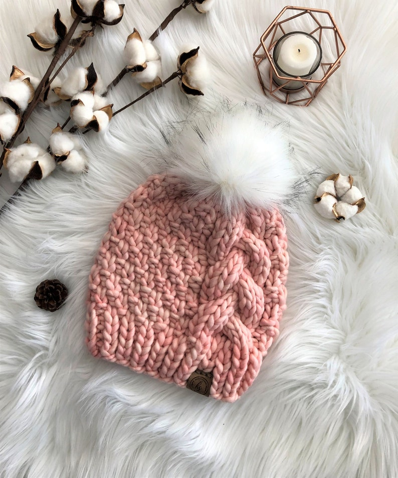 6fea8e558 Luxury Line/ADULT Cable Knit Faux Fur Pom-Pom Hat/Peach Pink Beanie/Fluffy  White Pom Pom/Bulky Knitted Hat for Women/Soft Merino Wool Hat