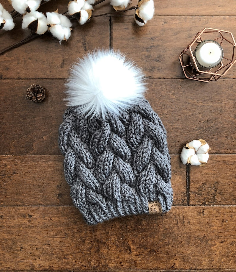 e7f19b5ab53 ADULT LRG Knit Winter Hat Cable Knit Hat Braided Cable