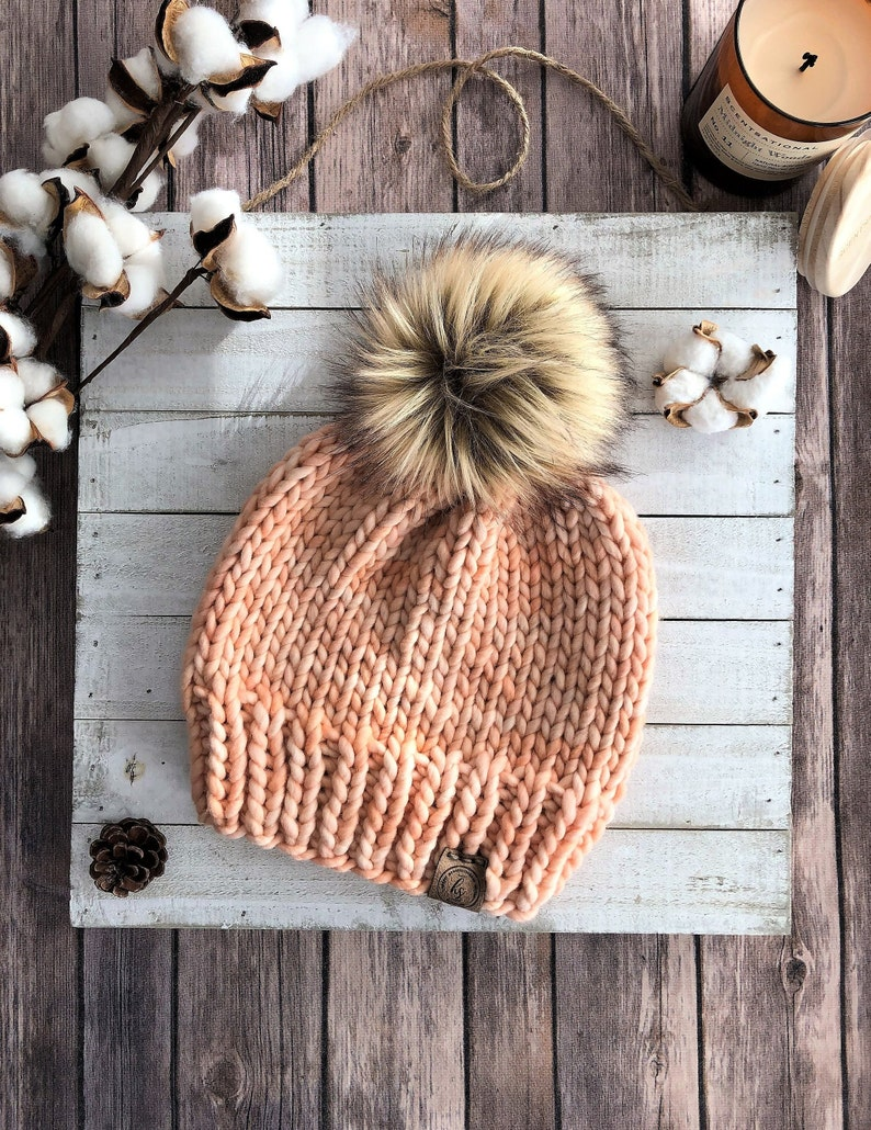 09fb27ced LUXURY LINE/ADULT Chunky Knit Fur Pom-Pom Hat/Light Melon Peach  Beanie/Bulky Knitted Hat Women/Merino Wool Winter Hat/Fluffy Brown Fur Poof