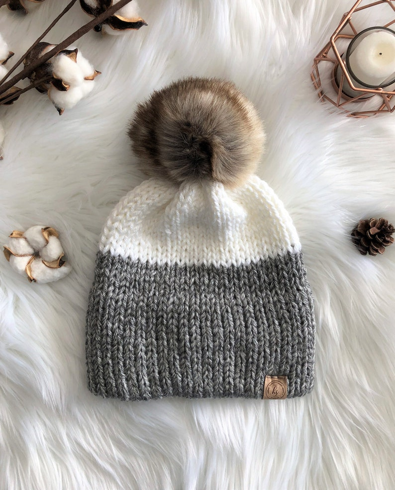 794cd34384f ADULT Double Brim Knit Beanie Faux Fur Pom Pom Hat Gray White
