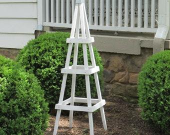 GARDEN TOWER OUTDOOR Decor Obelisk Climbing Plants Tuteur Patio White  (Short Ver)