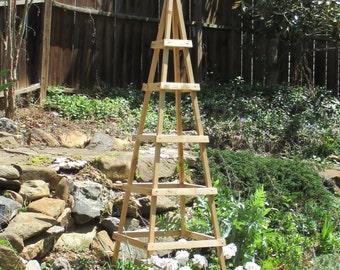 GARDEN TOWER CEDAR Outdoor Decor Obelisk Cimbing Plants Tuteur  (tall Ver)