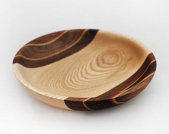 Decorative art bowl made from ash, walnut and coloured veneer, one of a kind home decor,  woodturning, made in Canada