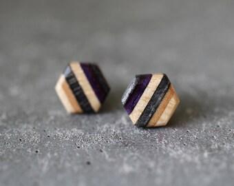 Skateboard Hexagon Stud Earrings