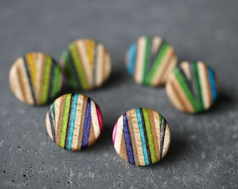ZigZag Stud Earrings made from recycled skateboards