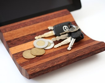 Catch All Tray made from mixed recycled hardwoods, valet stand, organizer, phone and tablet stand, Made in Canada
