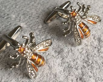 Bee cufflink, Enamel bee cufflinks, honeybee cufflinks, animal cufflinks, enamel cufflinks, orange cufflinks
