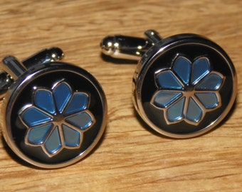 Vintage Flower Cufflinks, Mens gifts, Silver cufflinks, Blue & Black cufflinks, Enamel cufflinks, Flower cufflinks, Floral cufflinks