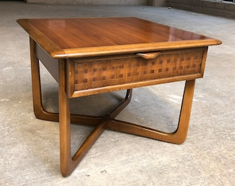 Mid Century Modern Lane Perception End Table With Woven Drawer Front Sculpted Cross Base Side Table Commode Table Nightstand