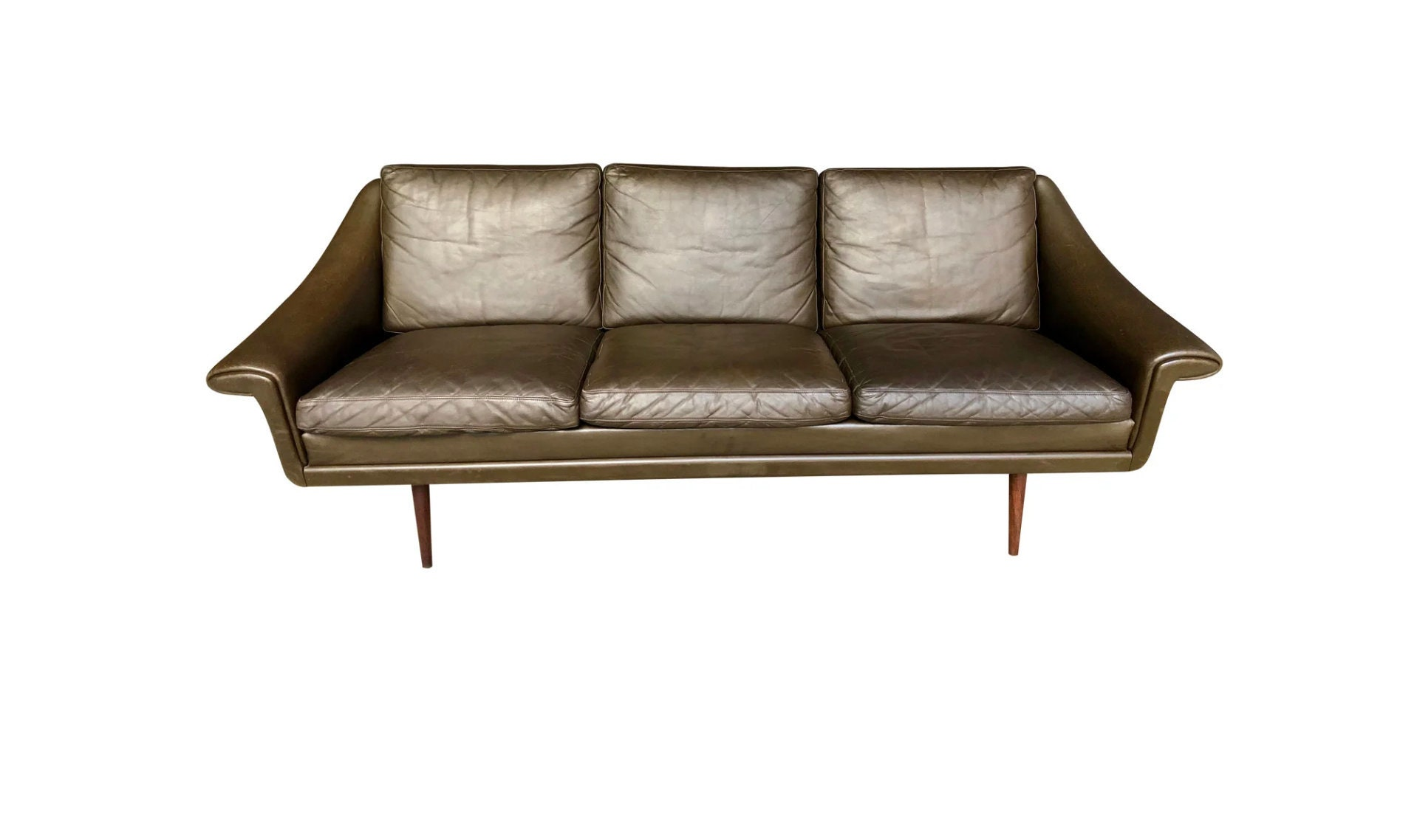 Mid Century Danish Modern Brown Leather Sofa Attr To Svend Skipper Three Seat Couch Teak Legs