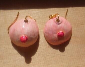 Clay earrings. Boob earrings