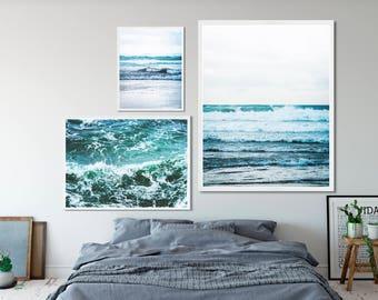 Ocean waves photography 3 print set. Natural, beach photo triptych. Scandinavian, minimal, modern, hygge, multi pack set of three decor.