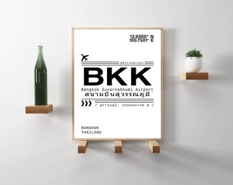 BKK Bangkok, Thailand Airport Call Letters Print. Minimal, Modern, Scandinavian style, Wanderlust, travel, Typography Downloadable Art Print