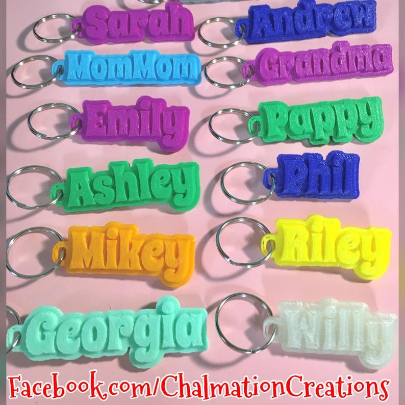 Name Keychains Zipper Pulls Personalized 3d Printed