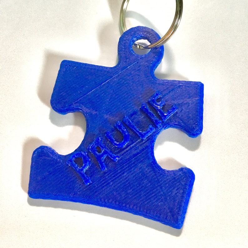 Puzzle Piece Name Keychain, Zipper Pull, Key Ring, Austism, 3D Printed &  Personalized