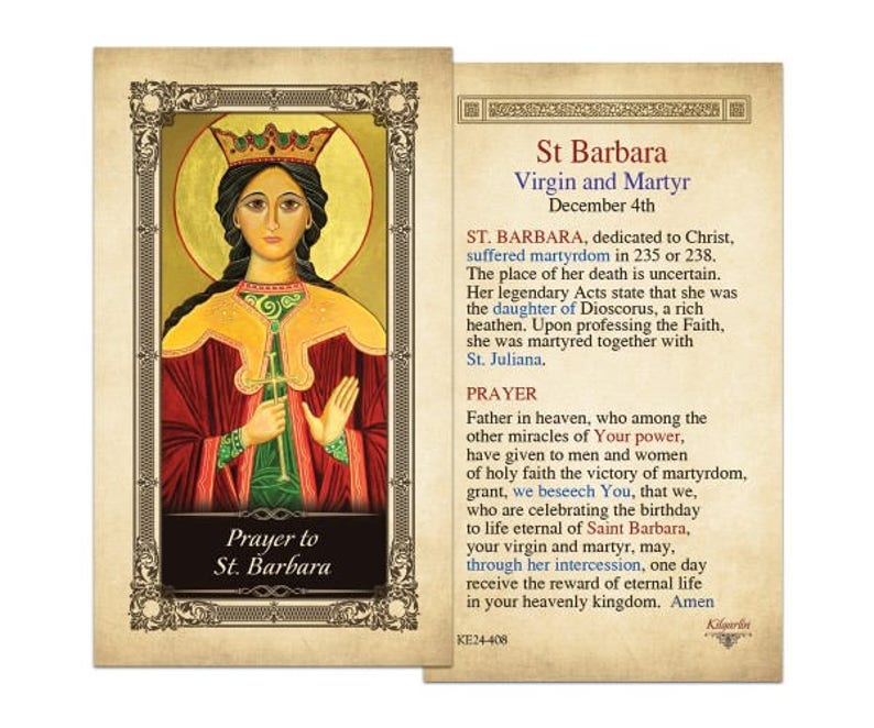 74c47286249 St. Barbara Laminated Holy Card one card | Etsy