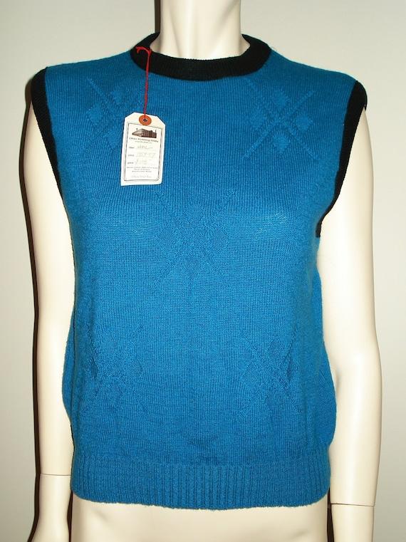 Vintage Blue Wool Sweater Vest